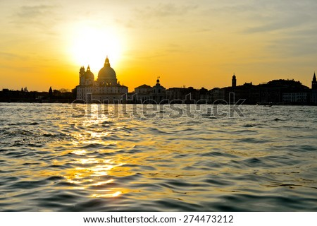 Basilica Santa Maria della Salute, Venice, Italy at sunset - stock photo