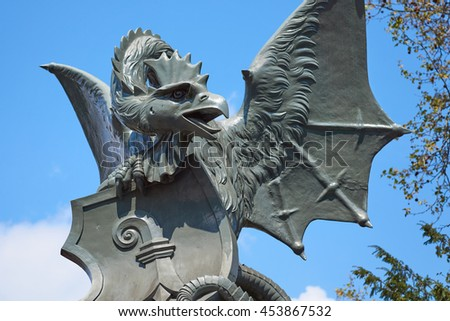Basilisk statue from 1879 on the Wettstein bridge, in the city of Basel, Switzerland