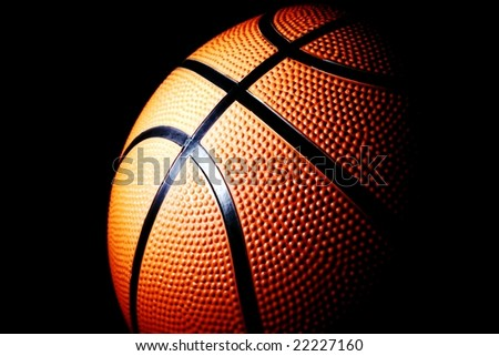 basket ball against black - stock photo