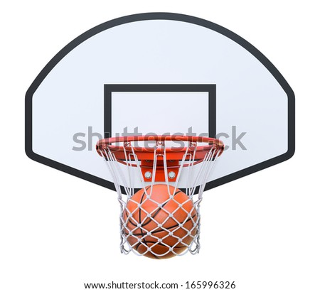 Basket ball in the hoop - stock photo