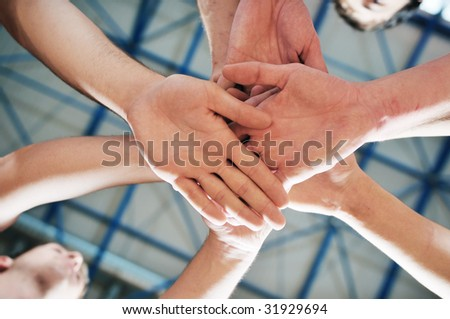 basket ball players team portrait in hi-school sport gym - stock photo