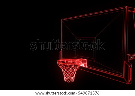 Basket Basketball in Wireframe Hologram Style. Nice 3D Render