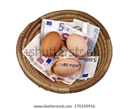 Basket egg with retirement eggs on Euro bank notes - stock photo