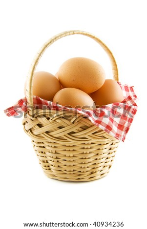 Basket filled with eggs isolated over white
