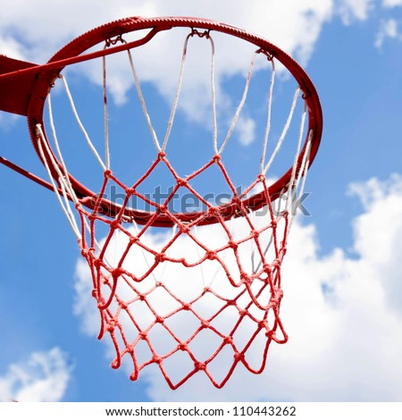 Basket for basketball against the sky. Summer holiday.