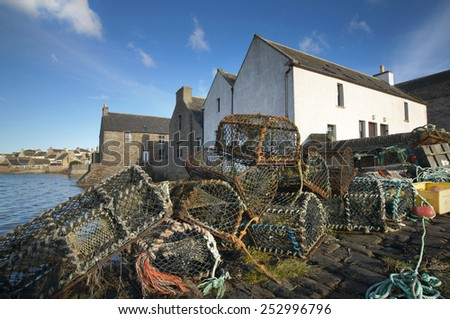 Basket for crabs in St Margareth Hope. Orkney. Scotland. UK - stock photo