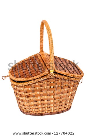 Basket for picnic, isolated - stock photo