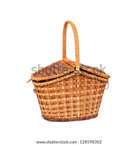 Basket for picnic isolated on white background - stock photo