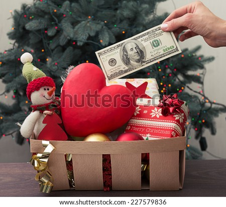 Basket full of Christmas donations  - stock photo