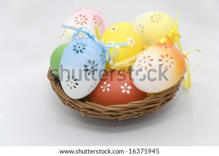 Basket full of Easter eggs.