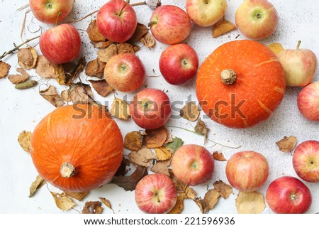 Basket full of red juicy apples scattered in a grass in autumn garden - stock photo