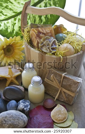 Basket full of soap and spa products. - stock photo