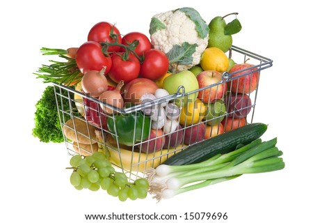 Basket full with vegetables and fruits.