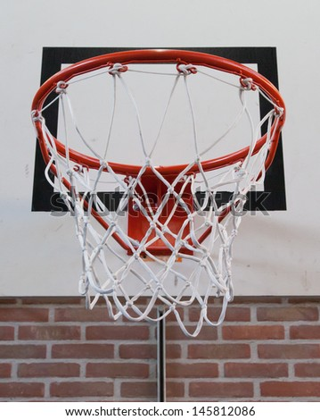 Basket in a old school gym, close-up - stock photo