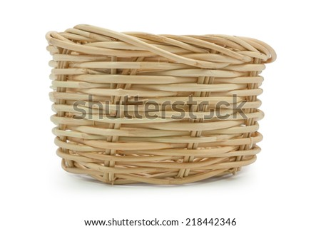 Basket  isolated on white,  file includes a excellent clipping path - stock photo