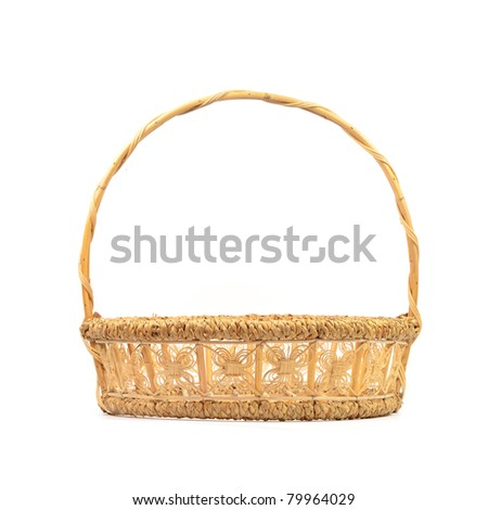 basket made from bamboo and reed - stock photo
