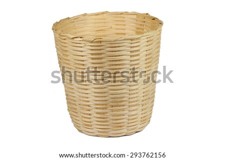 basket made from bamboo on a white background.