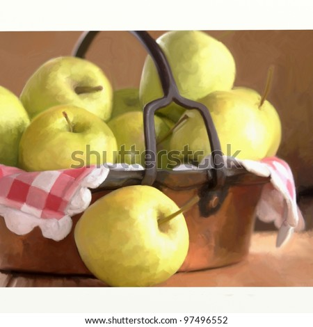 basket of apples with digital painting - stock photo