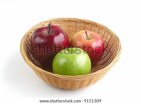 Basket of Colorful Apples Isolated on White Background