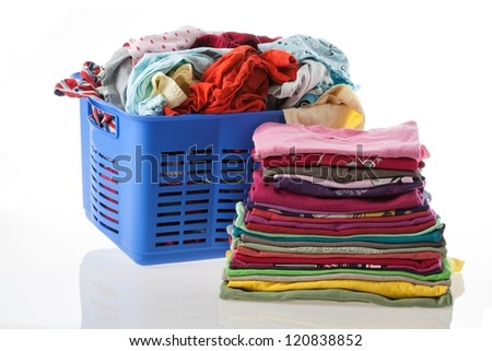 Basket of dirty and heap of clean clothes