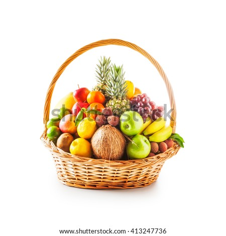 Basket of fresh fruits. Healthy eating and dieting concept. Winter assortment. Single object on white background  - stock photo