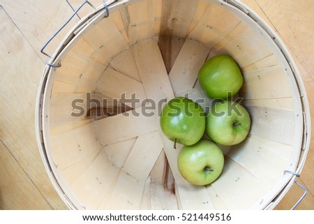 Basket of fresh picked green apples.