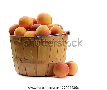 Basket of Fresh Picked Peaches On White