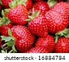 Basket of fresh strawberries. - stock photo