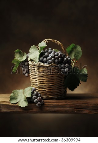 Basket of grape - stock photo