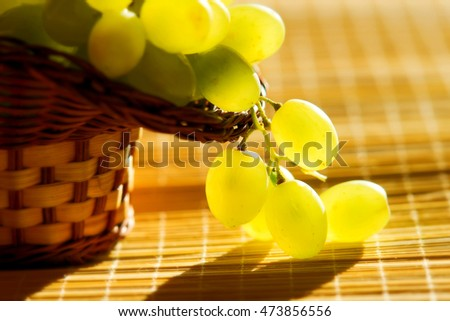 Basket of green grapes in the sun.