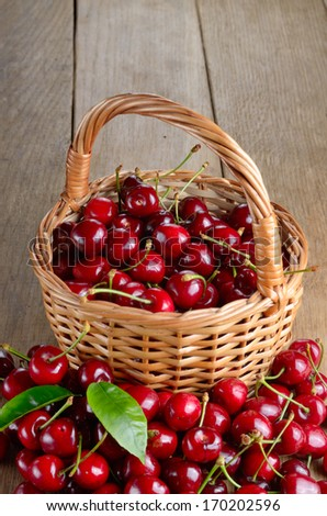 Basket of organic Cherries on wooden table