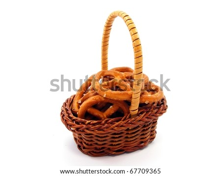 Basket of Pretzels - stock photo