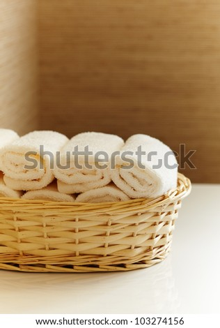 basket of pure white towels - stock photo