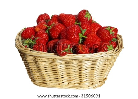 Basket of ripe strawberries isolated on white background