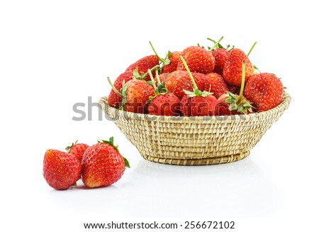 Basket of strawberries on white background