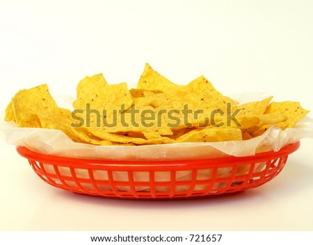 basket of tortilla chips - stock photo