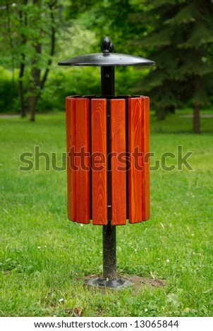 basket on litters on the grassy background - stock photo