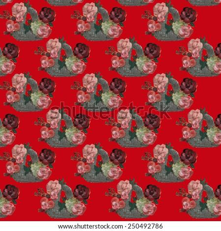 Basket seamless pattern - stock photo