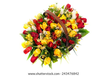 Basket tulips and spring flowers - stock photo