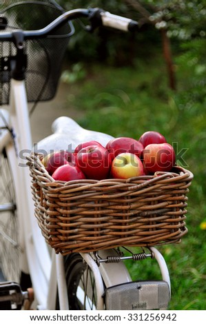 Basket with apples on a bicycle - stock photo