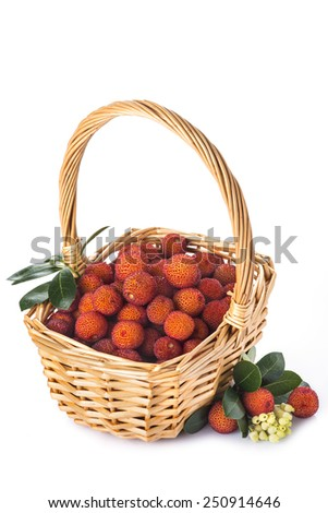 Basket with arbutus unedo fruits isolated on a white background - stock photo