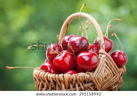 Basket with cherry close up.