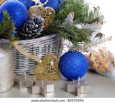 Basket with christmas balls - stock photo