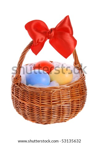 Basket with Easter eggs, in studio