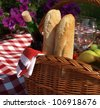 Basket with food and wine for picnic - stock photo