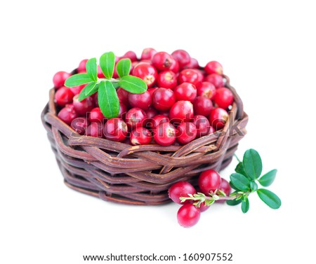 Basket with Fresh red cranberries on a white  background
