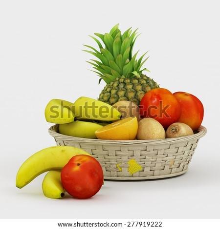 basket with fruits isolated on white - stock photo