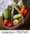 Basket with garden vegetables - stock photo