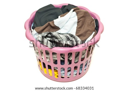 Basket with laundry isolated - stock photo