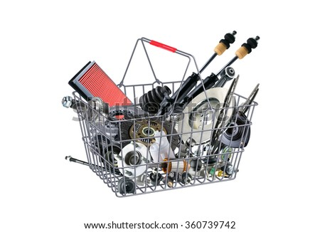 Basket with many spare parts for the passenger car. Spare parts for shop, aftermarket, OEM. Spare parts, auto parts in basket. New spare parts for shop. Many auto spare parts for car. Painted basket. - stock photo